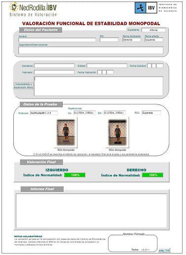 Ejemplo de informe resultante de la valoración con el sistema NedRodilla/IBV